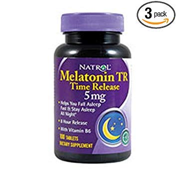 Natrol Melatonin Time Release 5mg Tablets 100 ea ( Packs of 3)