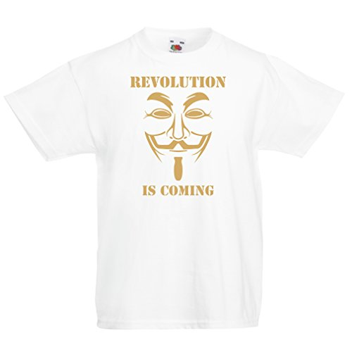 lepni.me Kids T-Shirt The Revolution is Coming - The Anonymous Hackers mask, V for Vendetta (5-6 Years White Gold) ()