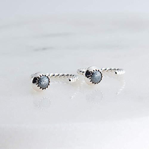 Sterling Silver Open Hoop Hugger Hugging Earrings with 3mm Hematite Stone