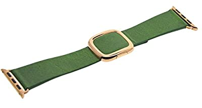 JSGJMY Smart Watch Band 38mm Leather Bracelet Replacement Strap for Smart Watch Sport & Edition (Green+Rose Gold Buckle,38MM S)