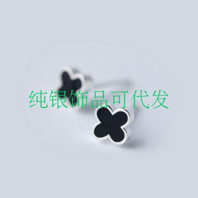 (925 four-leaf clover earrings black onyx diamond white fungus women girls fashion jewelry hypoallergenic earrings black)