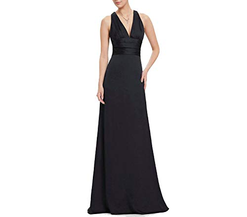 Evening Dresses EP09008 Fashion Elegant Purple Black Sexy V-Neck New Party Dress,BK,4, (Best Jeans For Curvy Figure Uk)