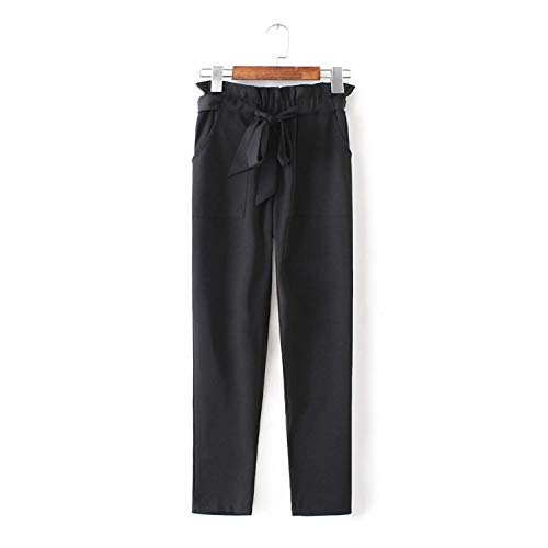 Autumn shallow Fate Chiffon High Waist Harem Pants Bow Tie Drawstring Elastic Waist Pockets Casual Trousers,Black,Xs
