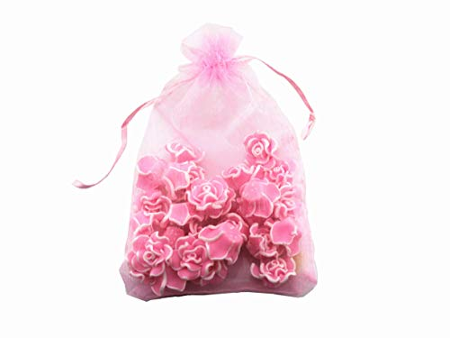 8 x 12 Inch 100 Drawstring Bags Gold Silver Fabric Jewelry Gift Pouch Candy Pouch Wedding Favors (Pink)