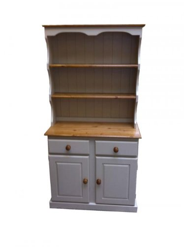 Wye Pine 3ft Welsh Dresser with Deep Canopy - Mix - Colour: Green