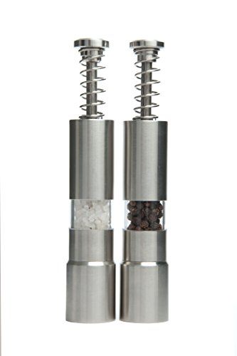 t Spring Action Sea Salt and Pepper Mill Set of 2, Stainless Salt and Pepper Grinders ()