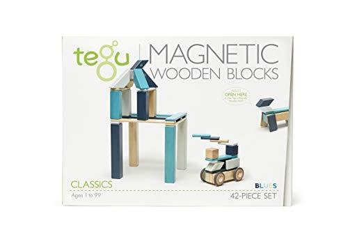 - 42 Piece Tegu Magnetic Wooden Block Set, Blues