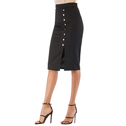 Benficial Women's High Waist Elastic Bag Hip Skirt Single-Breasted Skirt Skirt Long Skirt Black