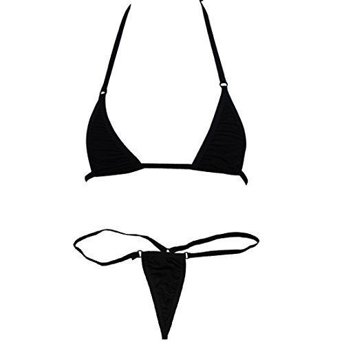 TIAOBU US Women Sliding Top & Thong G-String Bikini Swimsuit Black
