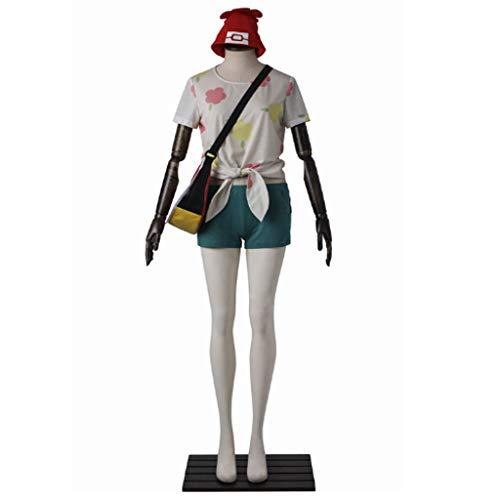 DUNHAO COS Anime Women's Pokémon Misty Trainer Uniform Suit Cosplay Costume M White ()