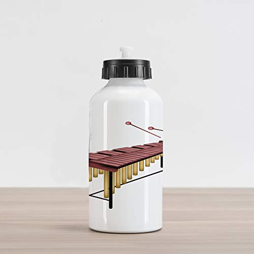 Aluminum Beater - Lunarable Marimba Aluminum Water Bottle, Illustration of a Percussion Instrument with Wooden Bars Beaters, Aluminum Insulated Spill-Proof Travel Sports Water Bottle, Dried Rose Sand Brown Black