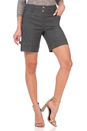 Rekucci Women's Ease Into Comfort 8 inch Chic Urban Short (10,Charcoal)