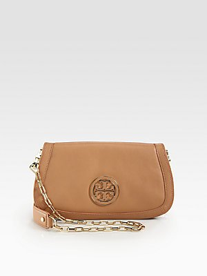 Tory Burch Amanda Logo Clutch Royal Tan by Tory Burch