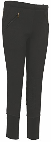 TuffRider Kid's Unifleece Pull-On Stretch Fleece Knee Patch Breeches, Black, 6