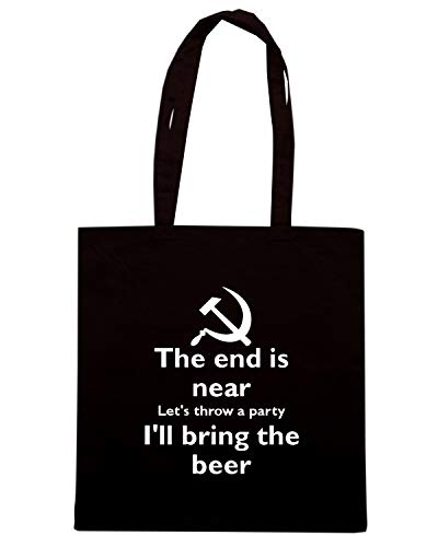 Speed Shirt Borsa Shopper Nera TKC1431 THE END IS NEAR LET'S THROW A PARTY I'LL BRING THE BEER