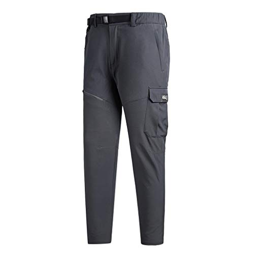 SFE-Pants Slim-Fit Tapered Fit Plus Size Overalls with Zipper Big Pocket Outdoor Running Fishing Work Casual Trousers Gray