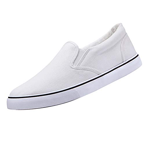 CAMEL CROWN Men's Canvas Loafer Sneaker Classic Slip on Skate Shoes Low-Top Tennis Shoes(White,9.5 D(M) US)