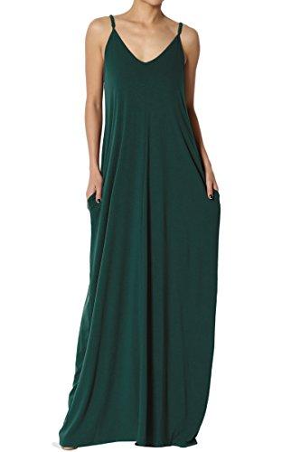 - TheMogan Women's V-Neck Draped Jersey Cami Long Maxi Dress with Pocket Hunter Green L