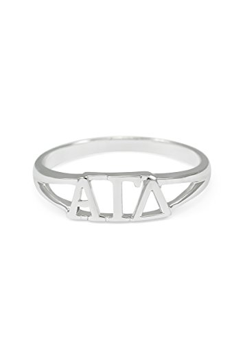 Sterling silver Alpha Gamma Delta ring with cut-out letters size 9 (Delta Gamma Ring)