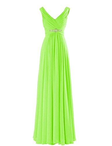 Neggcy Women's Deep V Neck Chiffon Bridesmaid Long Dress Formal Prom Evening Gowns Lime Green US14