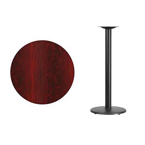 Flash Furniture 30'' Round Mahogany Laminate Table Top with 18'' Round Bar Height Table Base by Flash Furniture