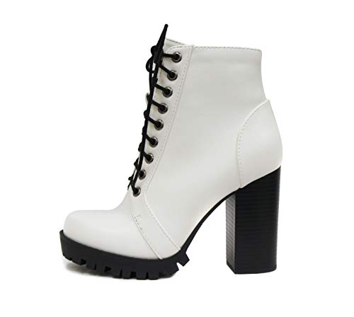 SODA Chalet - Fashion Lace up Military Inspired Ankle Boot with Stacked Heel and Side Zipper (9, White)