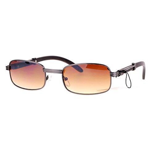 SA106 Retro Art Nouveau Vintage Style Small Metal Frame Sunglasses Gunmetal Gradient - Gradient Metal