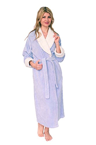 Bath & Robes Women's Soft Cotton Chenille Wrap Bathrobe Lavender Blush 1X