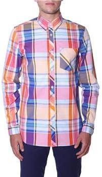 Fred Perry - Camisa para Hombre, Cuadros Naranjas, S: Amazon.es: Deportes y aire libre