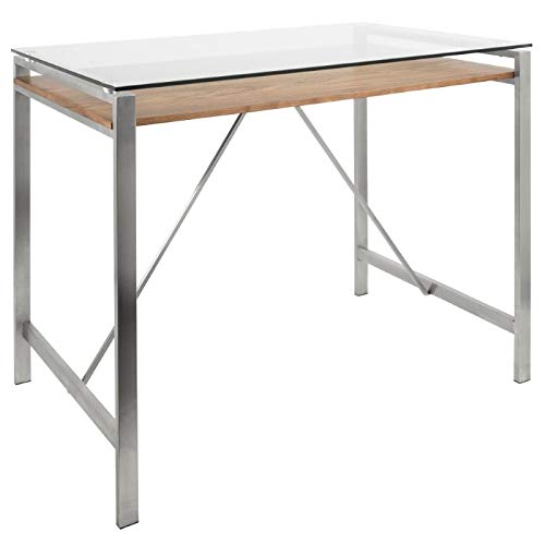 Lumisource Hover Mid-Century Modern Counter Table, Rectangular, Glass/Walnut/Stainless Steel ()