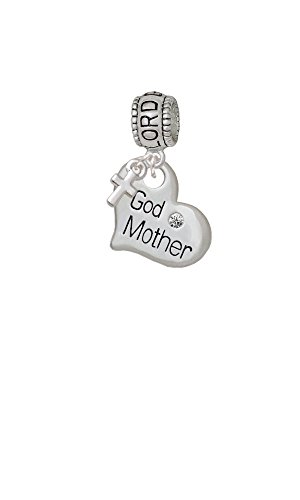 Delight Beads Large God Mother Heart Lord Guide Me Charm Bead with Cross