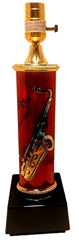 Wingsmarketshop Table Lamp with Saxophone and Music Notes Red Girls or Boys Rooms Music Theme Design NEW!