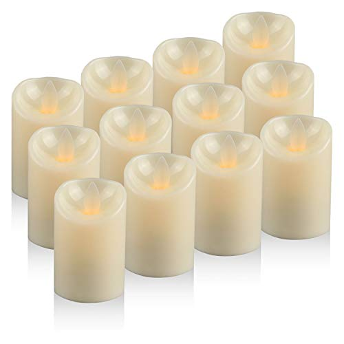 Moving Wick LED Candles Tea Light, Battery Operated Flickering Electric Candles, Pack of 12 (D:2