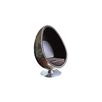 fauteuil oeuf egg chair aviateur marron grand modle - Fauteuil Oeuf