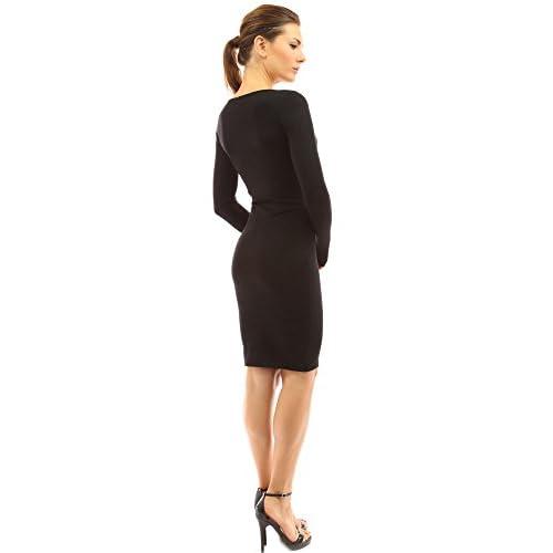 02dce622bd new PattyBoutik Women s V Neck Long Sleeve Plain Sweater Dress ...