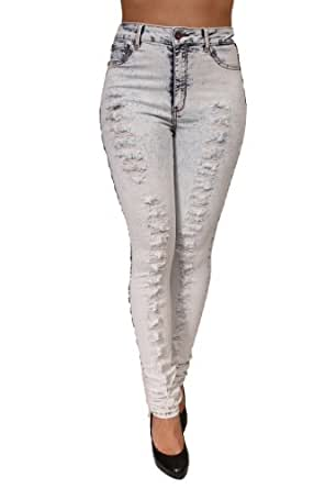 High Rise Acid Wash Colombian Style Jeans By JC&JQ-GP4550 (1)