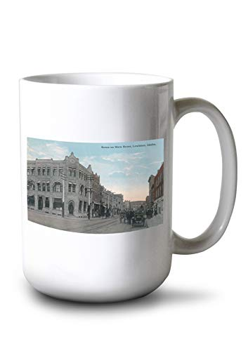 Lantern Press Lewiston, Idaho - Main Street Scene with Horse Carriages and Model-T (15oz White Ceramic Mug)