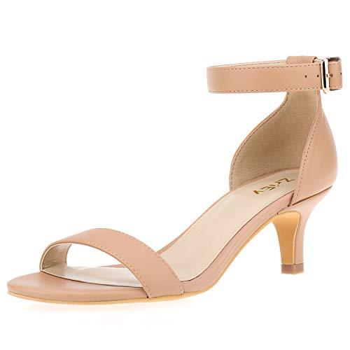 ZriEy Women Sexy Open Toe Ankle Straps Low Heel Sandals Nude Size 10.5