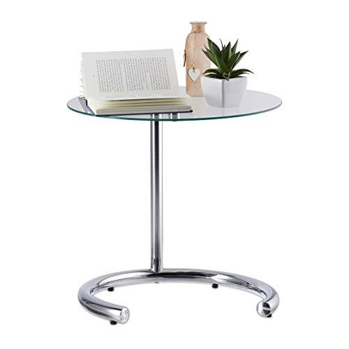 Relaxdays Mesa Auxiliar de Altura Regulable hasta 70 cm, Mesita Cafe, Acero Cromado-Cristal, Superficie 46 cm, Plateado, 70 x 46 x 46 cm
