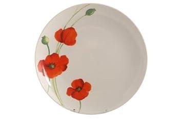 assiette plate motif coquelicot