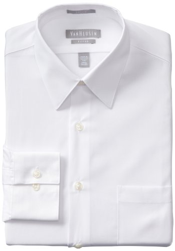 Van Heusen Men's Poplin Fitted Solid Point Collar Dress Shirt, White, 18.5