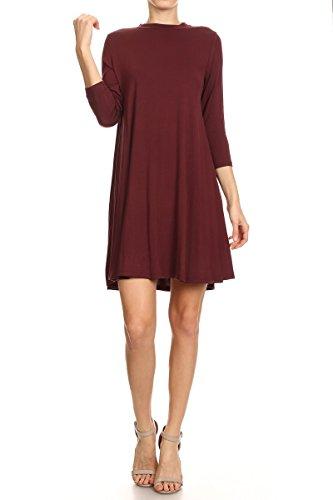 ReneeC. Women's Extra Soft Natural Bamboo 3/4 Sleeve Plain Dress - Made in USA (Small, Burgundy)