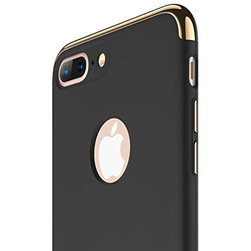 - RANVOO iPhone 8 Plus Case, Slim Fit Thin Hard Stylish Cover 3 in 1 Detachable Case [Support Wireless Charging], Black [Clip-ON Series]
