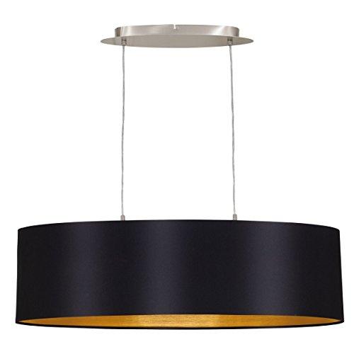 EGLO 31611 Hängeleuchte Maserlo Nickel-Matt Schirm, schwarz / gold stahl, 78 cm