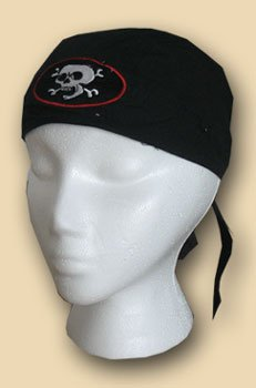(Flagline Skulls and Crossbones (embroidered) - EZDanna Headwraps)
