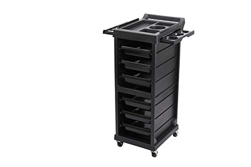 Beauty Style Salon Equipment Locking Trolley with 6 Drawers, Rolling Wheels for Beauty Hairdressing Storage Cart Black