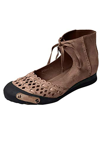 Women Retro Hallowed Casual Sandals Shoes,Ladies Round Toe Ankle Strap Summer Outdoor Lightweight Classic Shoes (Brown, -