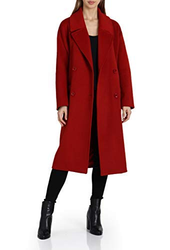 Badgley Mischka Women's Mid Length Double Breasted Wool Coat, red, Large