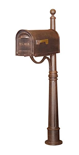 Special Lite Classic Curbside Mailbox with Ashland Mailbox Post Unit - Copper by Special Lite Products Company, Inc.