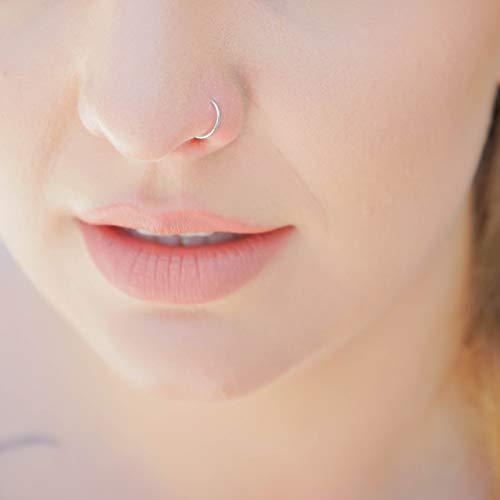 14k Solid White Gold Nose Ring - 20 Gauge 8mm 5/16